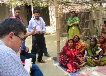 Peter von Dadelszen discusses the pre-eclampsia project with community health workers in Bangladesh. Photo: Diane Sawchuck